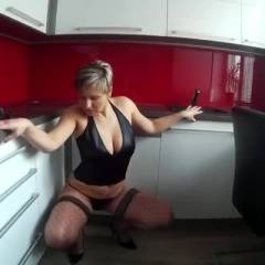 Striptease In The Kitchen - Shaved, Lingerie, Big Tits, Wife/Wives
