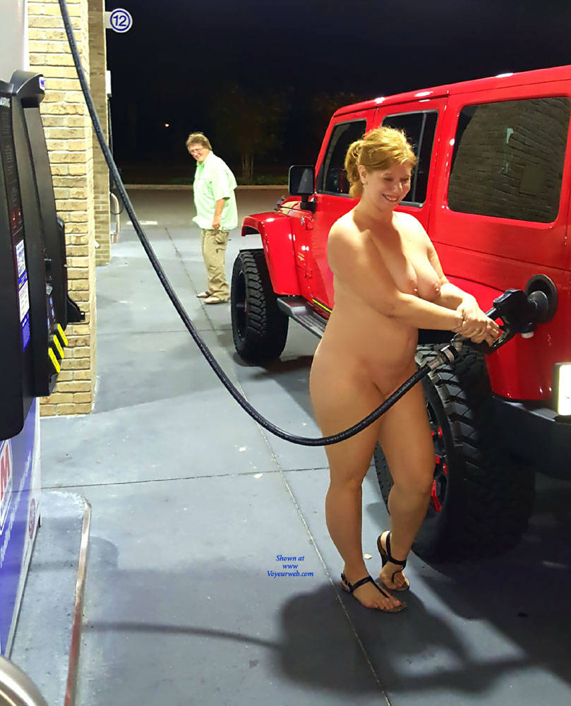 Gas Pump Girls Nude chelly naked at the beach, neighborhood and bar - december