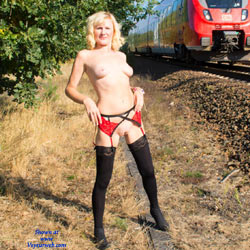 Nude At The Railway - Blonde, Flashing, Lingerie, Public Exhibitionist, Shaved