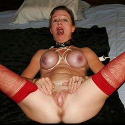 Submilf Wife With Purple Silicone Boobs In Bondage - Big Tits, Shaved, Wife/Wives