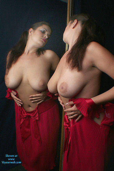 Pic #1 - Red Lady Doubled - Big Tits, Brunette Hair , Sexy, Naked, Nude, Horny, Voluptuous, Huge Breasts