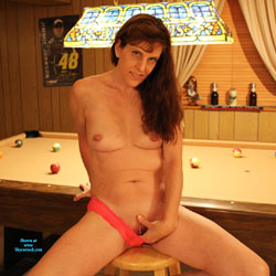 Nude Redhead At The Pool Hall - Chair, Indoors, Nipples, Redhead, Shaved Pussy, Small Tits, Hairless Pussy, Sexy Body, Sexy Legs, Sexy Panties, Wife/Wives