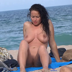 Curly Beauty - Beach, Big Tits, Brunette, Shaved