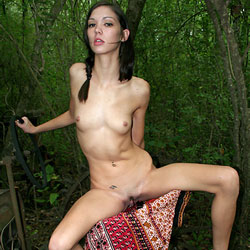 Old Tractor In The Woods - Brunette Hair