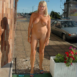 Naked Blonde In The Street - Big Tits, Blonde Hair, Exposed In Public, Full Nude, Nude In Public, Perfect Tits, Sandals, Shaved Pussy, Hairless Pussy, Sexy Body, Sexy Boobs, Sexy Legs