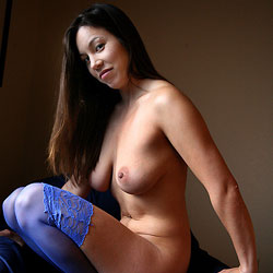 Blue Stockings - Big Tits, Brunette, Lingerie