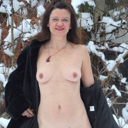 Naked In The Snow - Brunette, Lingerie, Shaved