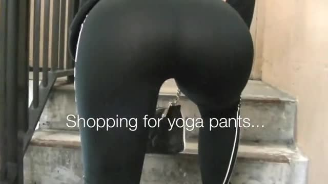 moist pussy yoga pants panties public