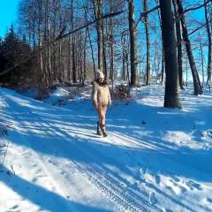 Winter Walk - Big Tits, Brunette, Nature, Shaved