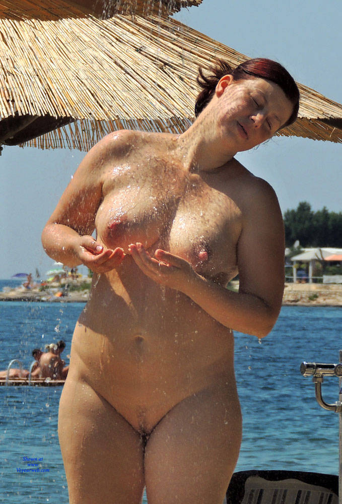 Nudist beach shower girls nude