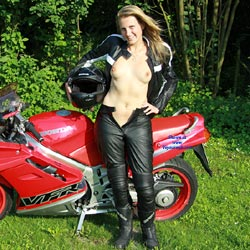 Topless Biker Girl - Blonde Hair, Erect Nipples, Firm Tits, Flashing Tits, Flashing, Nude Outdoors, Showing Tits, Sexy Body, Sexy Girl