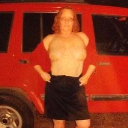 Red In Public - Big Tits, Redhead