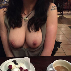 Eating Out - Public Exhibitionist, Flashing, Big Tits, Public Place