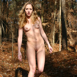 Old Tree In The Woods - Nude In Public, Perfect Tits, Redhead