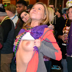 Blonde Girl Nude In Mardi Gras - Big Tits, Blonde Hair, Firm Tits, Nude In Public, Showing Tits, Topless Girl, Sexy Boobs, Sexy Girl