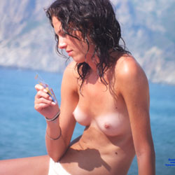 Topless Brunette At Beach - Brunette Hair, Nipples, Perfect Tits, Showing Tits, Small Tits, Beach Tits, Beach Voyeur, Sexy Girl , Curly, Topless, Beach, Brunette, Small Tits