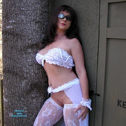 Nude Outdoor Wearing White Lingerie - Big Tits, Brunette Hair, Nude In Nature, Nude Outdoors, Sunglasses, Sexy Body, Sexy Boobs, Sexy Girl, Sexy Legs, Sexy Lingerie