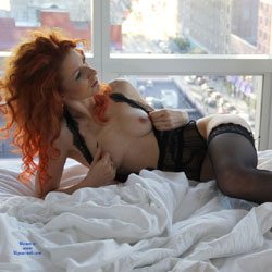 Sexy Redhead On Bed Wearing Lingerie - Bed, Firm Tits, Nipples, Redhead, Showing Tits, Stockings, Hot Girl, Sexy Girl, Sexy Legs, Sexy Lingerie