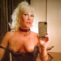 A Corset And A Collar - Blonde, Lingerie, Shaved