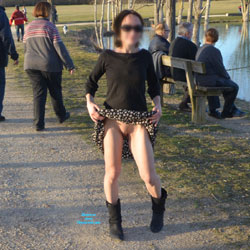 NIP Near The Lake - Brunette, Flashing, Public Exhibitionist, Public Place, Shaved