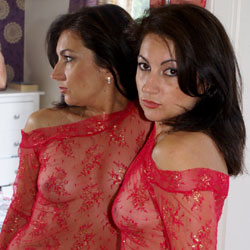 Anna (37) - See Through Red Top - Big Tits, Brunette, See Through
