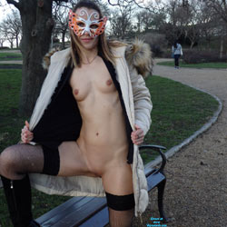 Winter Walking - Flashing, Medium Tits, Public Exhibitionist, Public Place, Shaved