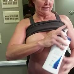 Lotion On The Boobs - Big Tits