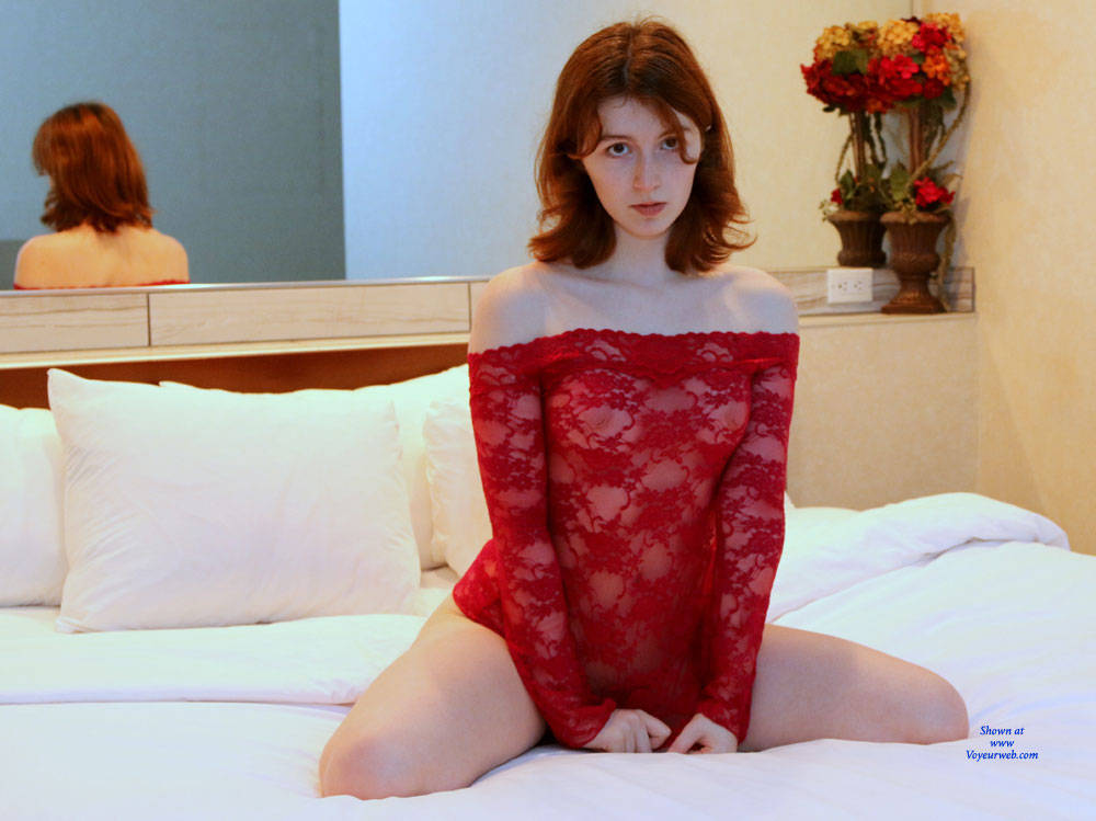 Redhead Teen On Bed Wearing See Through - March, 2016 -9316