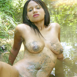 Wet And Muddy In The Creek - Big Tits, Brunette, Nature