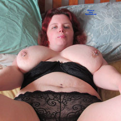 Showing Her Bush - Big Tits, Lingerie, Redhead, Bush Or Hairy, BBW