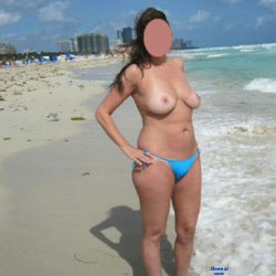 Wife Topless In Miami Beach  - Beach, Big Tits, Topless Wives
