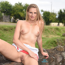 Bri At The Castle Ruin - Public Exhibitionist, Public Place, Shaved