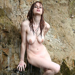 Wet At The Waterfall - Big Tits, Nature, Shaved