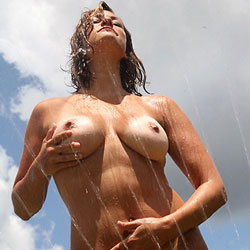 Sprinkler Play - Big Tits, Brunette