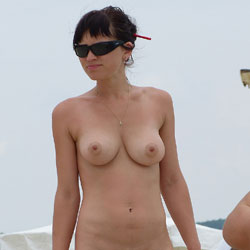Young Nudist Couple 2 - Big Tits, Brunette Hair, Beach Voyeur