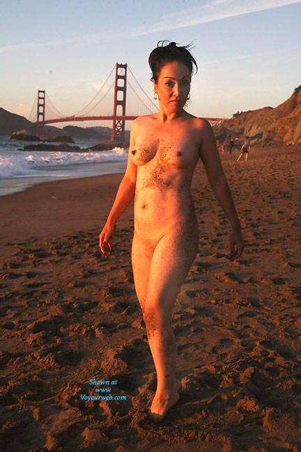 Pic #1 - Sunset At Baker - Brunette Hair, Beach Voyeur , Nude, Milf, Cougar, Slut