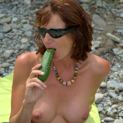 Nude Redhead With Dill Pickle - Exposed In Public, Masturbation, Nipples, Nude Outdoors, Redhead, Shaved Pussy, Showing Tits, Spread Legs, Sunglasses, Tattoo, Hairless Pussy, Sexy Body, Sexy Legs, Toys