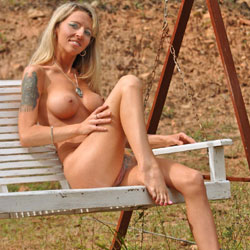 Showing Off At The Park - Big Tits, Blonde Hair, Tattoo
