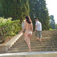 Theatre Park - Brunette Hair, Exposed In Public, Nude In Public , We Tried Out Some Naked Photo Fun In This Great And Beautiful Park