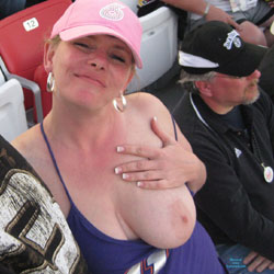 Flashing At The Race - Big Tits, Flashing, Public Exhibitionist, Public Place