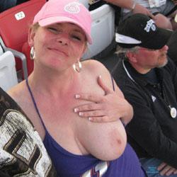 Flashing At The Race - Big Tits, Flashing, Public Exhibitionist, Public Place