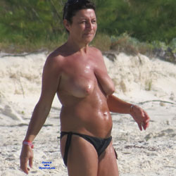 Topless Milf At The Beach - Beach Voyeur, Brunette