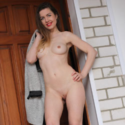 Naked Nicole At The Door - Big Tits, Brunette Hair, Firm Tits, Full Frontal Nudity, Full Nude, Long Hair, Long Legs, Nipples, Perfect Tits, Red Lips, Shaved Pussy, Hairless Pussy, Naked Girl, Sexy Body, Sexy Figure, Sexy Girl, Sexy Legs