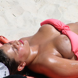 Nipple Slip On The Beach - Big Tits, Beach Voyeur, Bikini Voyeur