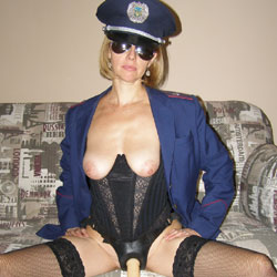 Nude Officer With Strap On - Big Tits, Flashing Tits, Stockings, Sunglasses, Sexy Legs, Sexy Lingerie, Toys, Strap On