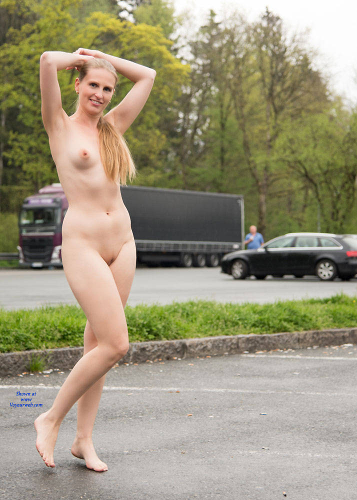 hot girl half naked in public