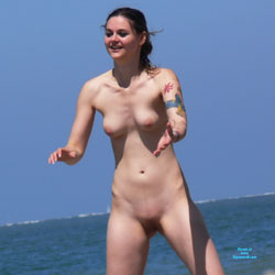 Playing Frisbee At The Beach - Beach Voyeur, Brunette, Shaved, Tattoos