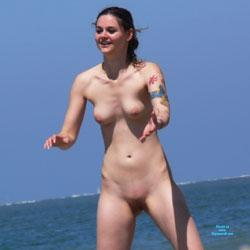 Playing Frisbee At The Beach - Beach Voyeur, Brunette, Shaved, Tattoos