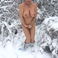 Naked In The Snow - Big Tits, Boots, Large Breasts, Naked Outdoors, Showing Tits, Snow, Sexy Boobs, Sexy Legs