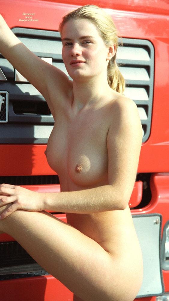 Pic #2 Walk in a Parking Lot - Blonde, Public Exhibitionist, Public Place